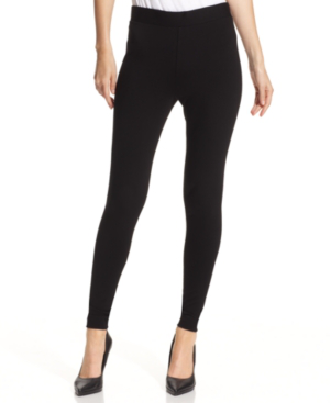 Vince Camuto Petite Ponte-knit Leggings In Rich Black