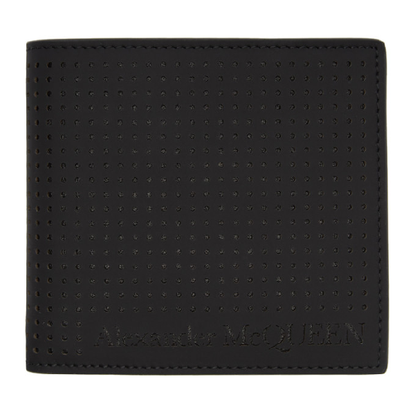 Alexander Mcqueen Perforated Leather Billfold Wallet In 1000 Black