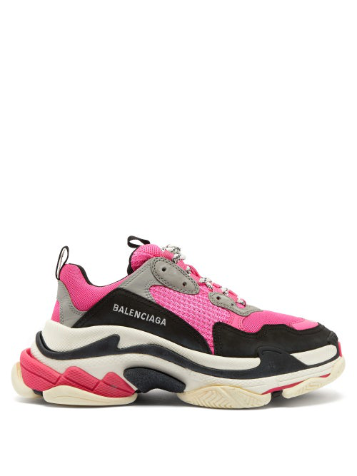 Balenciaga Triple S Fluo Mesh Trainer Sneakers In Black Pink