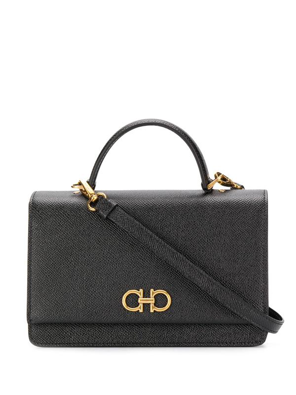 Salvatore Ferragamo Women's Gancini Leather Top Handle Bag In Black