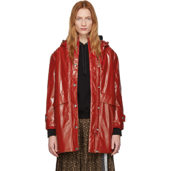 Burberry Horseferry Print Coated Jersey Parka In Bright Red
