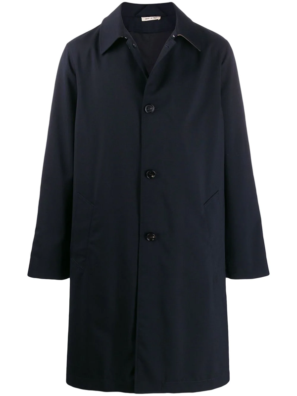 Marni Long Waterproof Coat In Technical Fabric In Blue
