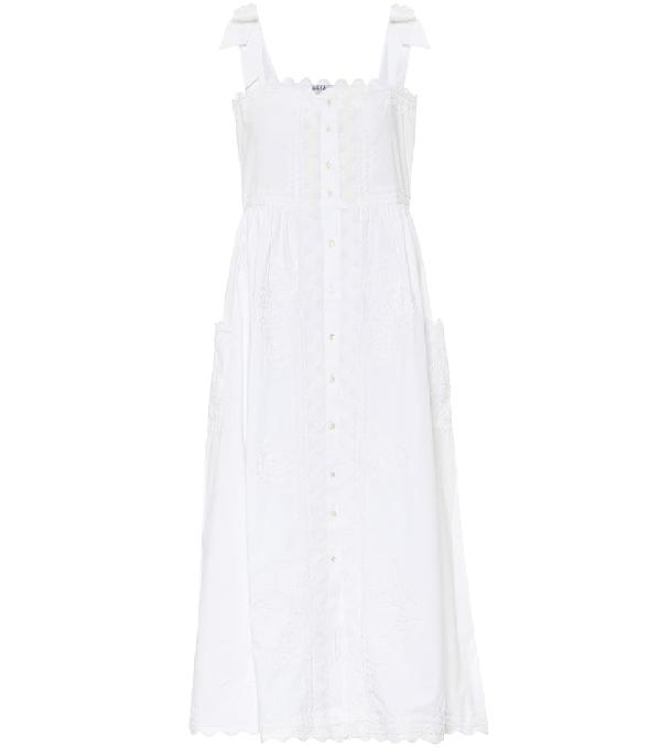 Juliet Dunn Mirror-work Floral-embroidered Cotton Midi Dress In White
