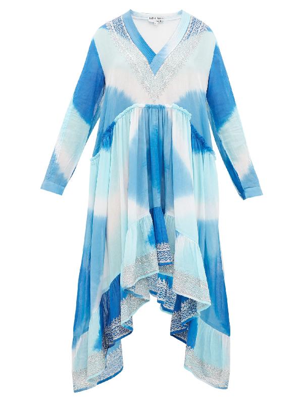 Juliet Dunn Embroidered Tie-dye Cotton Kaftan In Blue Multi