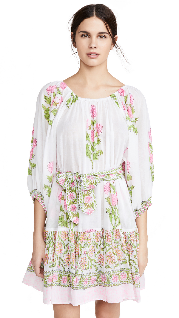 Juliet Dunn Off-the-shoulder Floral Print Cotton Dress In Pink White