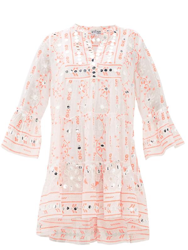 Juliet Dunn Nomad Mirror-work Cotton Dress In Red White