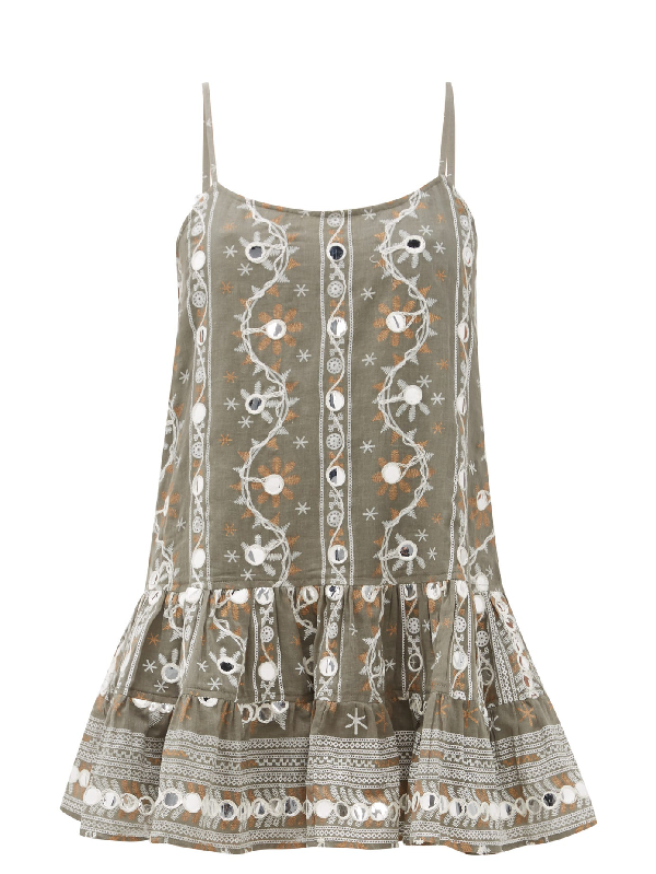Juliet Dunn Nomad Mirror-embroidered Cotton Dress In Khaki Print