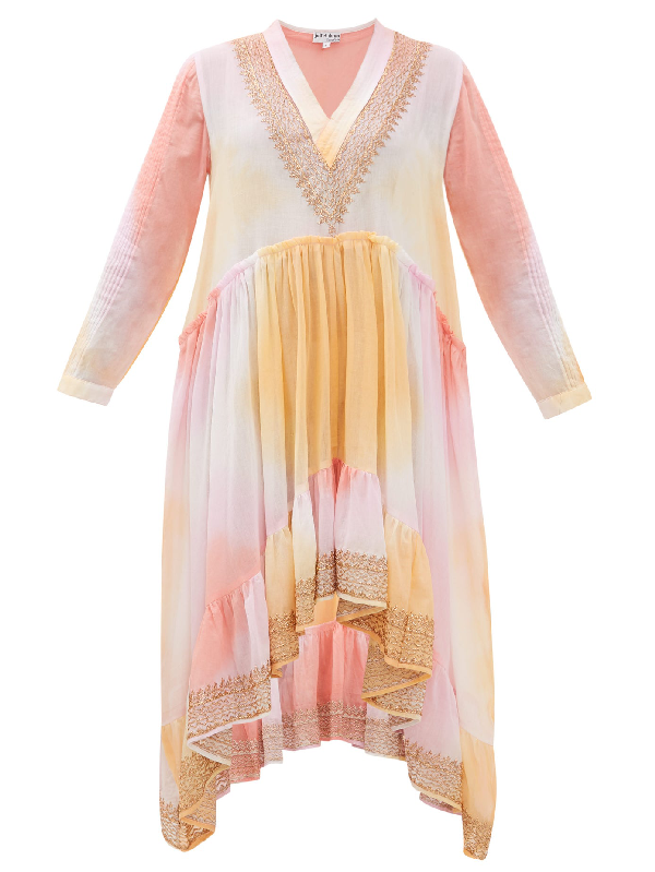 Juliet Dunn Embroidered Tie-dyed Cotton Dress In Pink Multi
