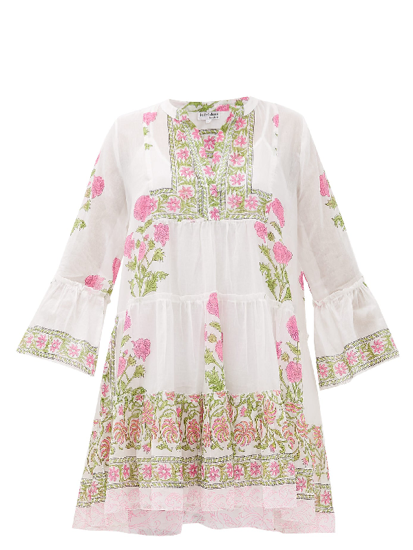 Juliet Dunn Tiered Floral Block-printed Cotton Dress In Pink White