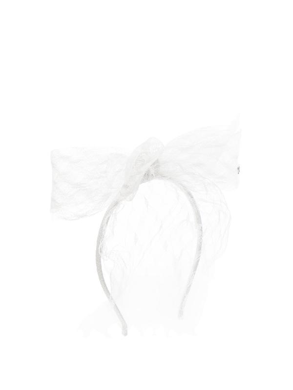 Maison Michel Akiko Lace Bow Headband In White