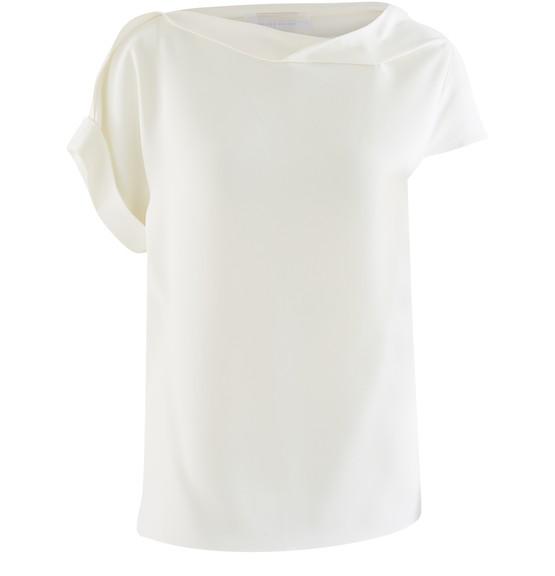 Roland Mouret Olinda Draped-neckline Crepe Top In White