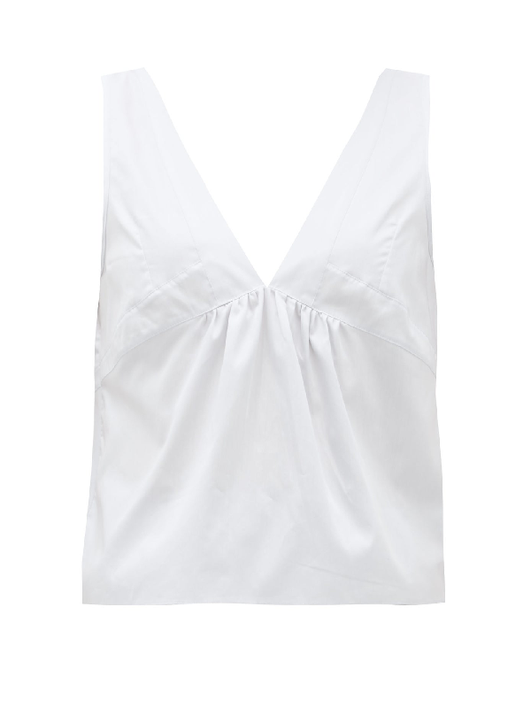Rossell England Panelled Cotton-poplin Top In Light Blue