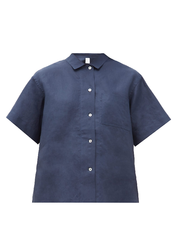 Rossell England Mother-of-pearl Buttoned Linen Pyjama Shirt In Navy