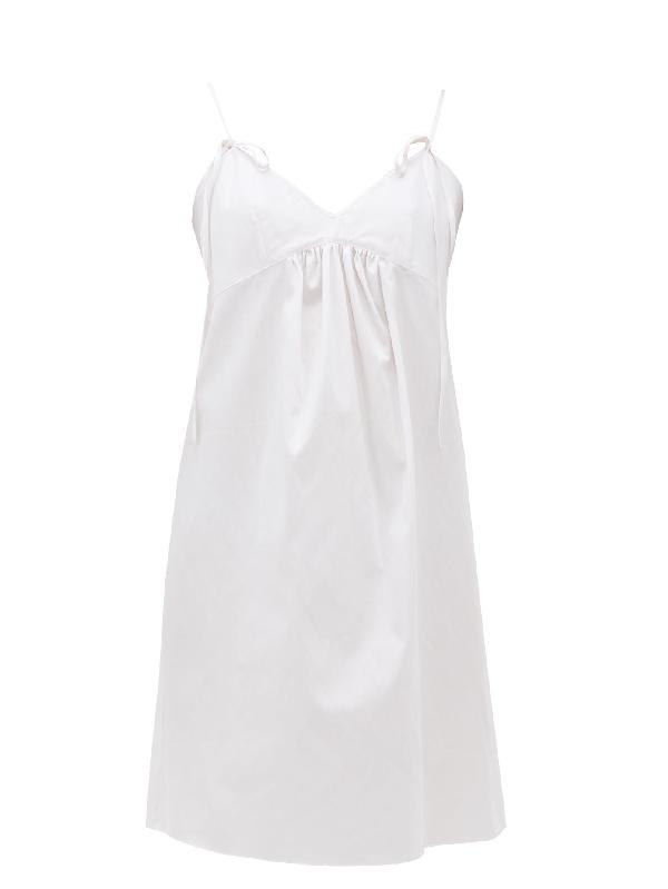 Rossell England Front-tied Cotton-poplin Nightdress In Light Pink