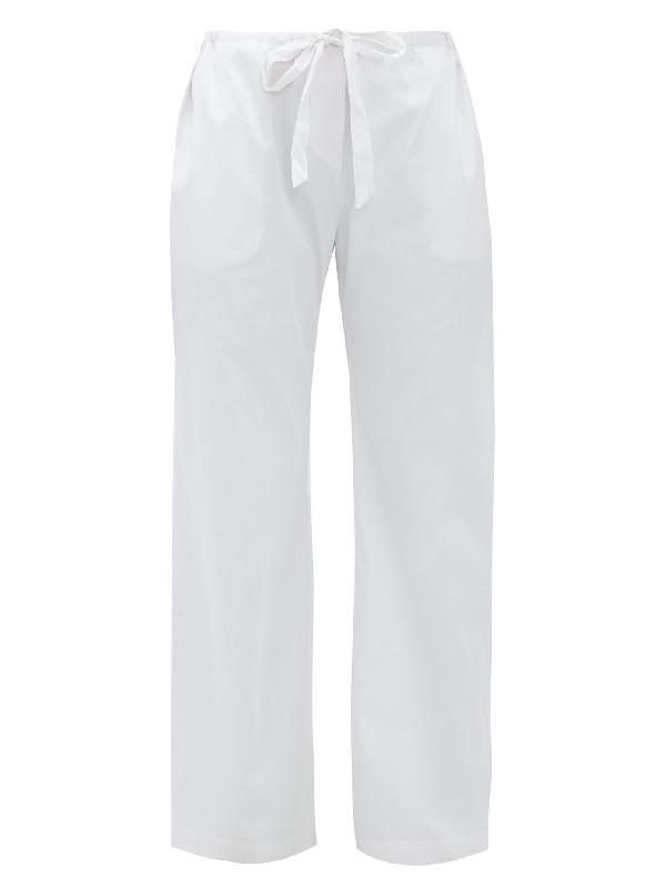 Rossell England Wide-leg Cotton-sateen Pyjama Trousers In Light Blue