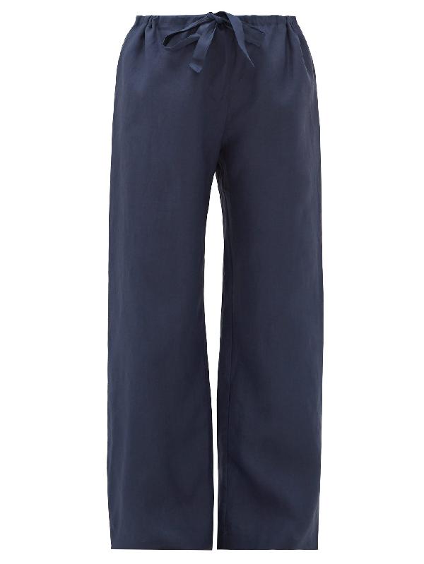 Rossell England Wide-leg Slubbed-linen Pyjama Trousers In Navy