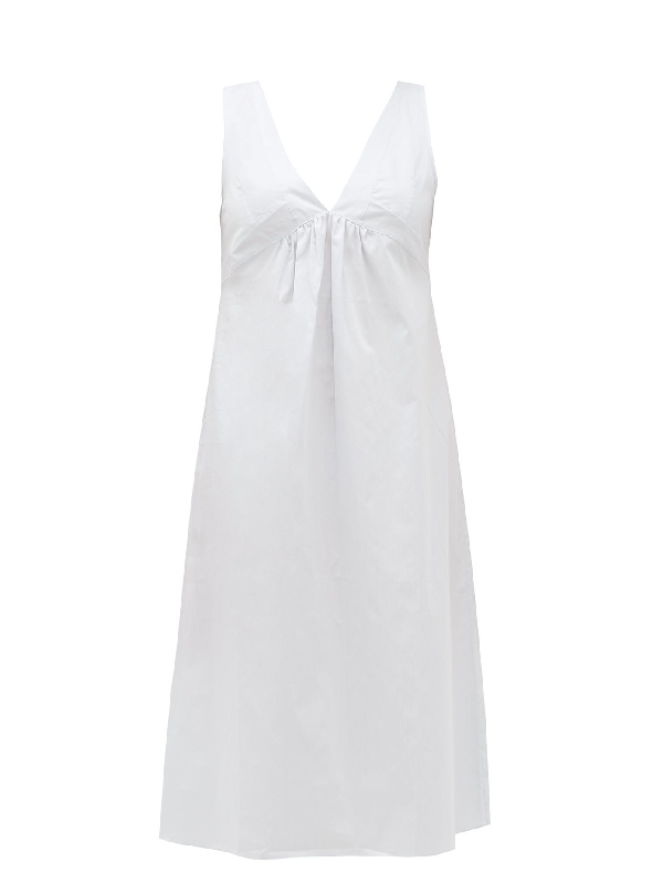 Rossell England Gathered Cotton Nightdress In Light Blue