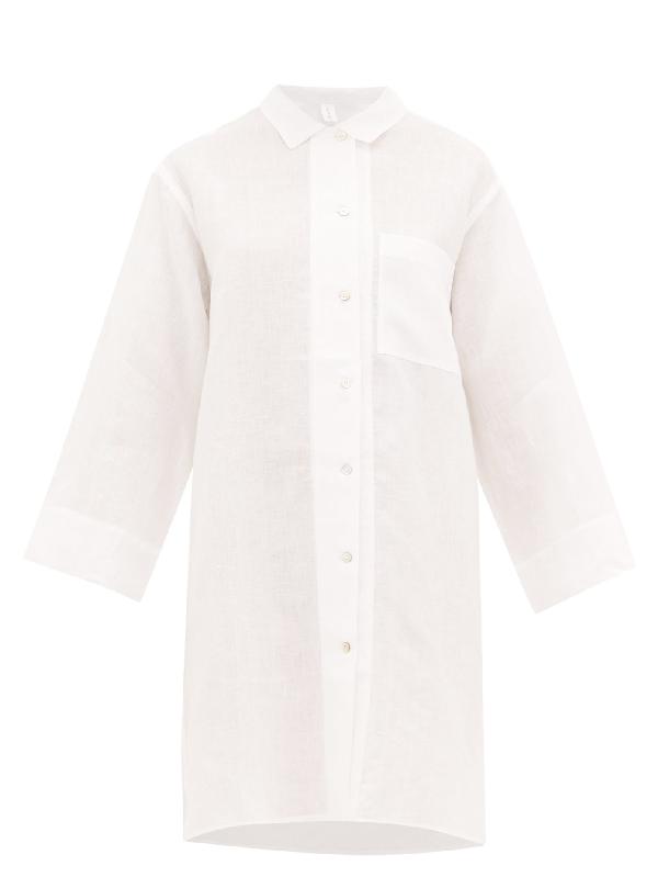 Rossell England Oversized Slubbed-linen Poplin Nightdress In White