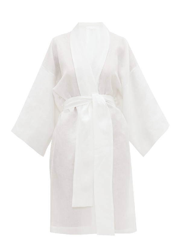 Rossell England Angled Linen Kimono-style Robe In White
