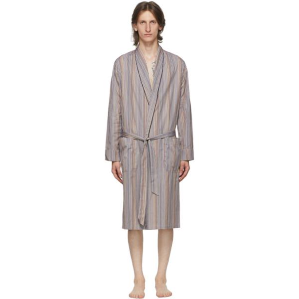 Paul Smith Signature Stripe Cotton-poplin Robe In 92 Multi