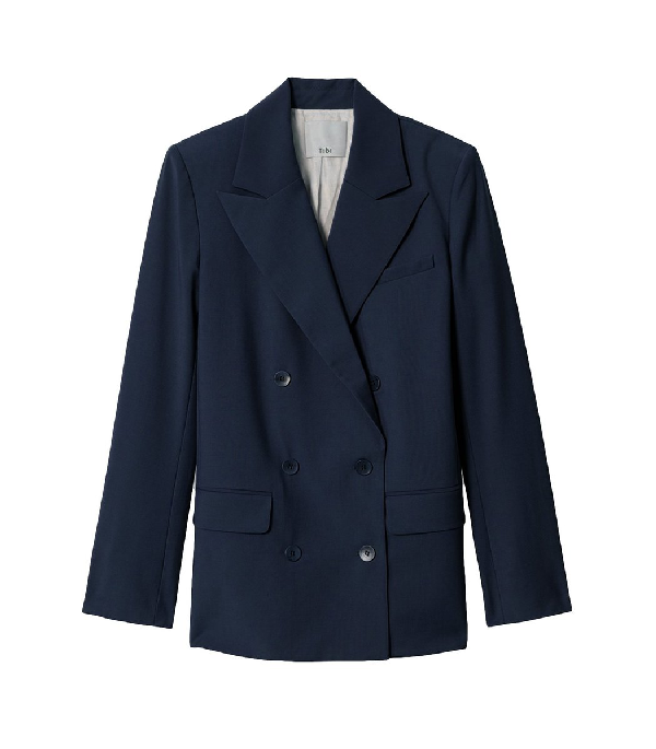 Tibi Tropical Wool Double Breasted Blazer With Cutout In Navy
