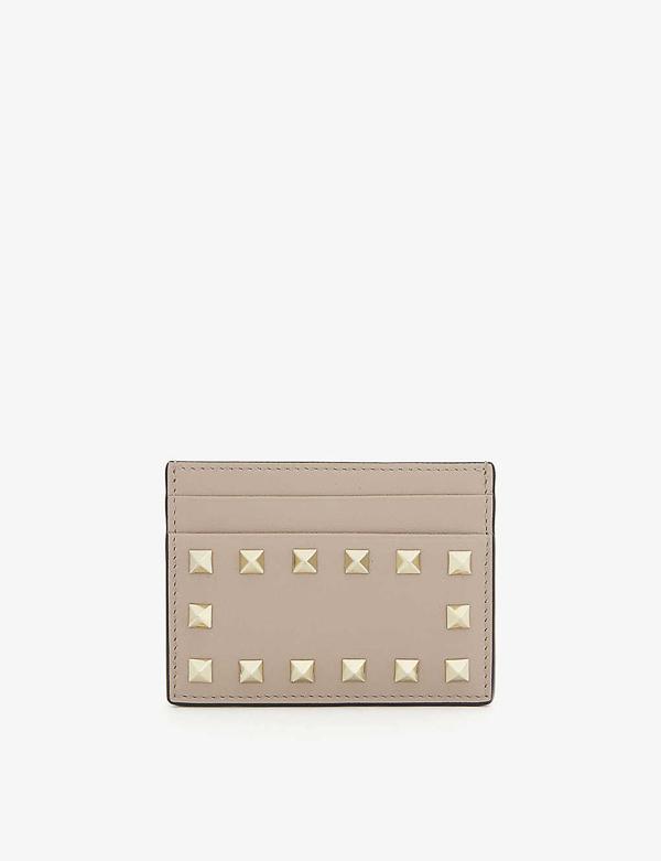 Valentino Garavani Rockstud Leather Card Holder In Pink