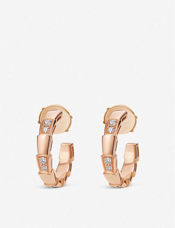 Bvlgari Women's Serpenti Viper 18k Rose Gold & Pavé Diamond Hoop Earrings