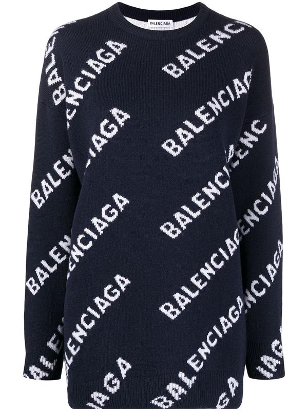 Balenciaga Logo Intarsia Wool-blend Knit Crewneck Sweater In Navy