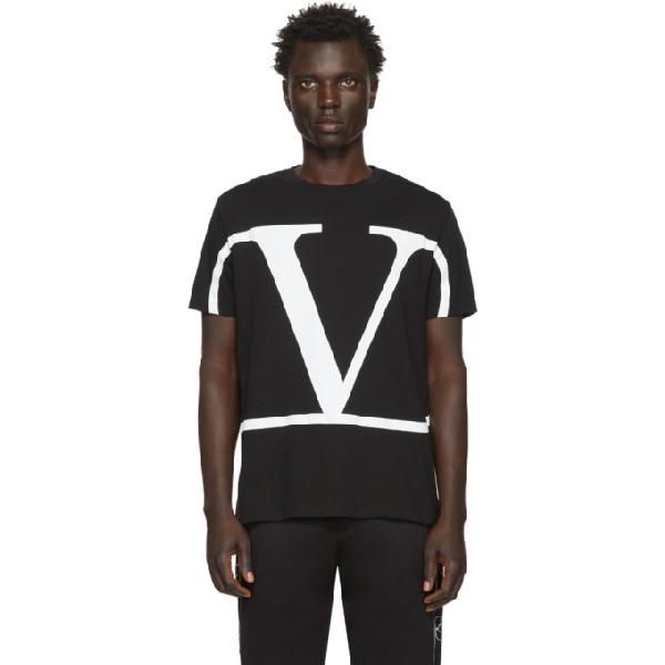 Valentino V-logo Print Cotton-jersey T-shirt In 0ni Nero/v