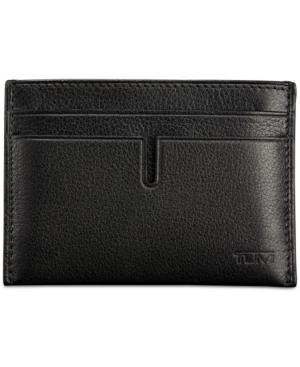 Tumi Leather Money Clip Card Case - Black In Black Textured
