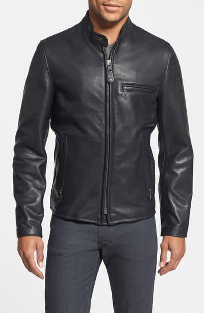Schott Cafe Racer Oil Tanned Cowhide Leather Moto Jacket In Black