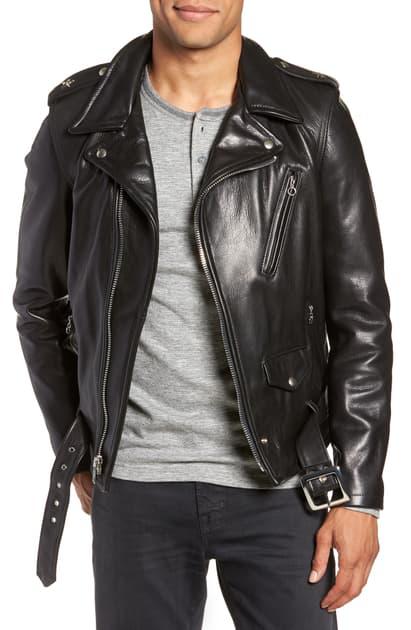 Schott '50s Oil Tanned Cowhide Leather Moto Jacket In Black
