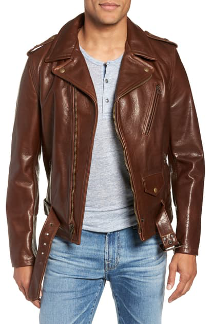 Schott '50s Oil Tanned Cowhide Leather Moto Jacket In Brown