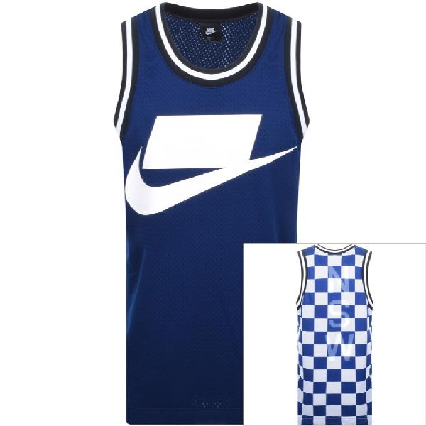 Nike Sportswear Check Logo Print Mesh Tank In Blue