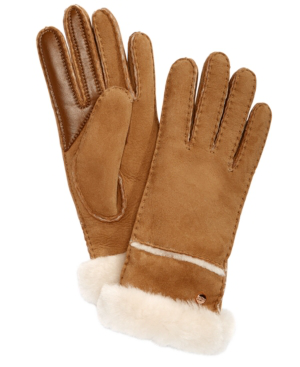 Ugg Stitched Slim Tech Gloves In Chestnut