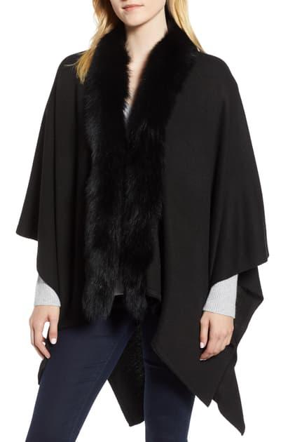 La Fiorentina Wool Blend Wrap With Genuine Fox Fur Trim In Black
