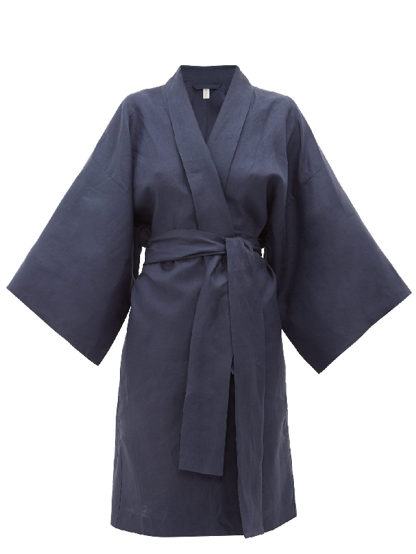 Rossell England Wrap Kimono-style Linen Robe In Navy