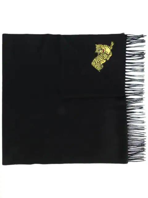 Kenzo Tiger Applique Fringe Wool Scarf In Black