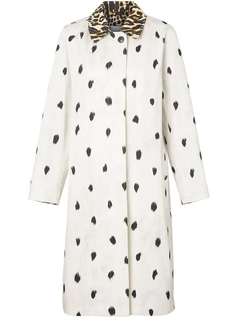 Burberry Carrington Animal Print Cotton Car Coat In White