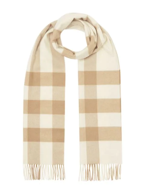 Burberry Giant Icon Check Cashmere Scarf In White