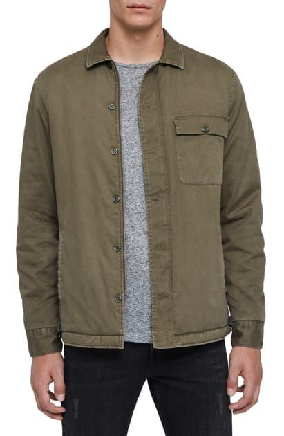 Allsaints Sherpa-lined Regular Fit Shirt Jacket In Cargo Green