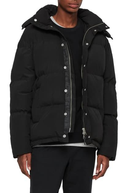 Allsaints Edbury Hooded Puffer Jacket In Black