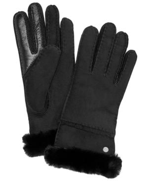Ugg Water Resistant Genuine Sheepskin Convertible Cuff Gloves In Black