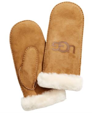 Ugg Genuine Sheepskin & Suede Logo Mittens In Chestnut