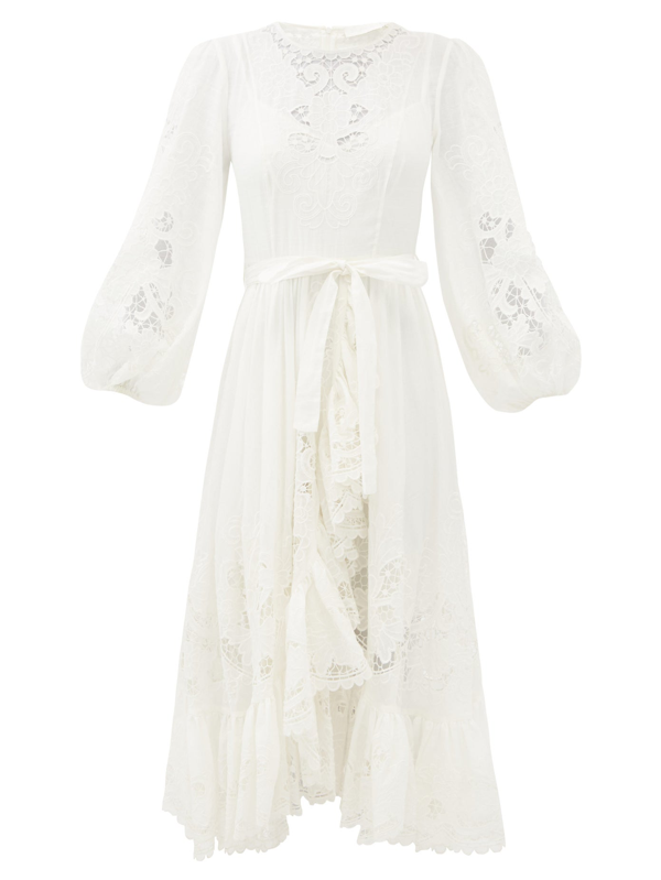 Zimmermann Lulu Balloon-sleeve Broderie-anglaise Cotton Dress In Ivory