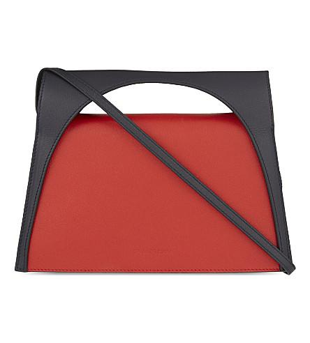 Jw Anderson Moon Leather Clutch Bag In Red/navy