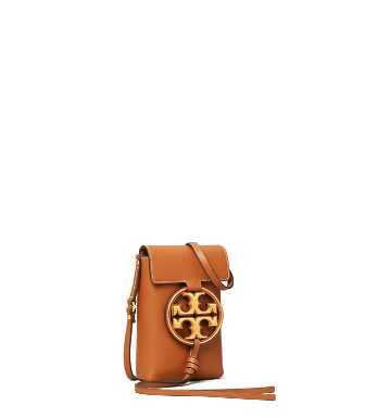 Tory Burch Women's Miller Metal Leather Crossbody Phone Case In Aged Camello