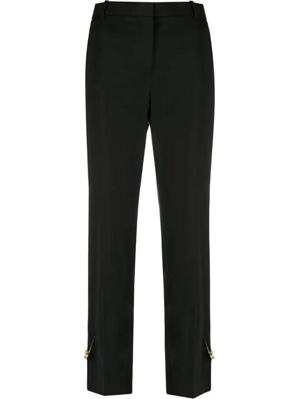 Versace Black Cigarette Trousers With Iconic Brooches