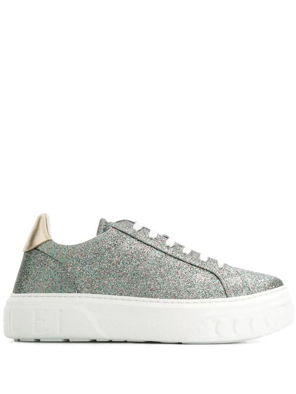 Casadei Glitter Sneakers In Grey