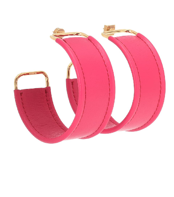 Jacquemus Les Fauteuils Big Hoop Leather Earrings In Pink